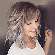 Femme Perruques capless à cheveux humains Jaune Mi Longue Ondulation Naturelle Coupe Carré Coupe Dégradée Avec Frange Cheveux Colorés