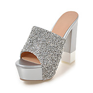 Feminino-Chinelos e flip-flops-Chanel-Salto Grosso-Branco Prata-Sintético-Social Casual