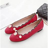 Damen-Flache Schuhe-Lässig-PU-Flacher Absatz-Komfort-Weiß Schwarz Rot