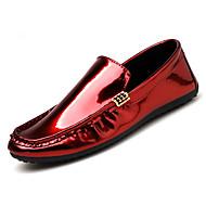 Kényelmes Könnyű talpak-Lapos-Férfi-Vitorlás cipők-Szabadidős Irodai Alkalmi Party és Estélyi-PU-Fekete Forgásc Piros
