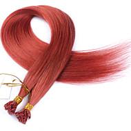 színes # 130 lapos tip hajhosszabbítás 10a legjobb minőségű perui Remy emberi haj keratin fúziós hajhosszabbítás 100 szál köröm tip haj 1g