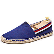 Men's Loafers & Slip-Ons Spring Summer Espadrilles Canvas Casual Flat Heel Beige Red Blue
