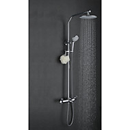 Art Deco/Retro Shower System Rain Shower Widespread with  Ceramic Valve Two Handles Three Holes for  Chrome , Shower Faucet