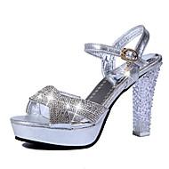 Femme Chaussures à Talons Confort Polyuréthane Printemps Confort Gros Talon Or Argent 10 à 12 cm