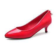 נשים-נעליים ללא שרוכים-עור פטנט-נוחות-שחור אפור אדום-משרד ועבודה שמלה יומיומי-עקב נמוך