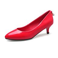 Dame-Lakklær-Lav hæl-Komfort-一脚蹬鞋、懒人鞋-Kontor og arbeid Fritid Formell-Svart Grå Rød