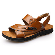 Sandály-Kůže-Pohodlné Novinky-Pánské-Černá Hnědá Žlutá-Kancelář Běžné-Plochá podrážka