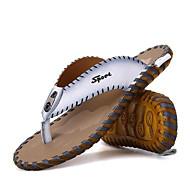 メンズ スリッパ&フリップ・フロップ コンフォートシューズ レザー 夏 カジュアル ホワイト ブラック オレンジ フラット
