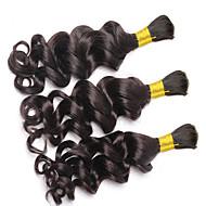人毛 ブラジリアンヘア バンドル髪 ディープウェーブ カールつけ毛 ヘアエクステンション 3個 ブラック