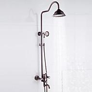 Moderne Antik Art Deco/Retro Centersat Vandfald Regnbruser Håndbruser inkluderet Træk-udsprøjte with  Keramik VentilEnkelt håndtere to