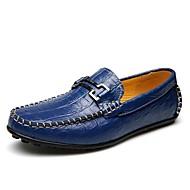 Herre-Lær-Flat hæl-Komfort-一脚蹬鞋、懒人鞋-Kontor og arbeid Fritid-Blå
