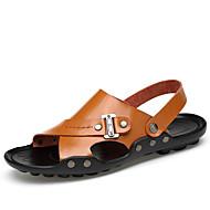 Sandaalit-Tasapohja-Miehet-Nahka-Valkoinen Musta Vaalean ruskea Tumman ruskea-Ulkoilu Rento Urheilu-Comfort
