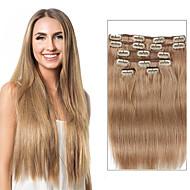 7 개 / 100 % 인간의 머리를 18 인치 14inch 붙임 머리의 색상 설정 18 베이지 금발 더러운 금발 클립