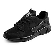 Men's Sneakers Spring Fall Comfort Tulle PU Athletic Flat Heel Black White Running