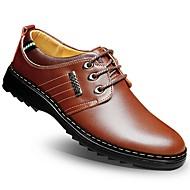 Masculino-Oxfords-Conforto Sapatos formais-Rasteiro--Pele-Casamento Escritório & Trabalho Casual