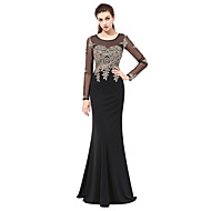 Formal Evening Dress - See Through Trumpet / Mermaid Scoop Floor-length Lace with Appliques
