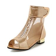 Damen Sandalen Komfort Club-Schuhe Kunstleder Frühling Sommer Kleid Komfort Club-Schuhe Reißverschluss Klett Niedriger Absatz Blockabsatz