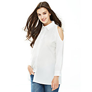 Women's Off The Shoulder Casual/Daily / Work Simple / Street chic Cut Out Spring / Fall ShirtSolid Shirt Collar Long Sleeve