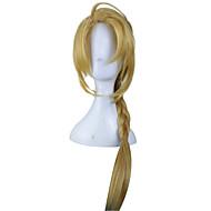 80cm 애니메이션 fullmetal alchemist 에드워드 elric 꼰 긴 금발의 코스프레 가발 합성 머리 하라주쿠 의상 가발