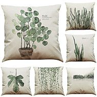 Set of 6 Tropical Rain Forest Ferns  Pattern Linen Pillowcase Sofa Home Decor Cushion Cover  Throw Pillow Case (18*18inch)