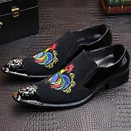 Masculino-Oxfords-Conforto Inovador Sapatos formais-Rasteiro-Preto-Couro Camurça-Casamento Escritório & Trabalho Festas & Noite