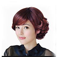 Popular Brown Color Body Wave Full Bang Synthetic Hair Daily Wig for Women