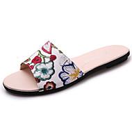Women's Slippers & Flip-Flops Comfort Pigskin Summer Outdoor Walking Comfort Flat Heel Purple Green Burgundy Under 1in