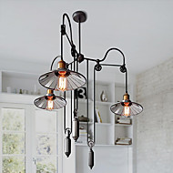 Ecolight® Vintage Pully Pendant Lights 3 Island Foyer Dinning Study Metal+ Galss inside shade