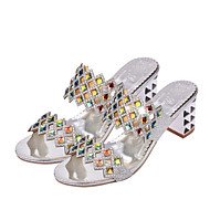 Women's Sandals Spring Summer Fall Comfort Light Soles Pigskin Outdoor Office & Career Casual Walking Chunky Heel Rhinestone Silver Gold
