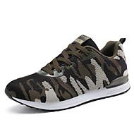 Unissex-Tênis-par sapatos Conforto Solados com Luzes-Salto Baixo-Verde Tropa-Tule-Ar-Livre Para Esporte Casual
