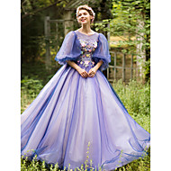 Formal Evening Dress - Vintage Inspired Ball Gown Jewel Floor-length Tulle with Appliques Beading Flower(s) Bandage