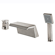 Art Deco/Retro Modern Tub And Shower Waterfall with  Ceramic Valve Two Handles Three Holes for  Nickel Brushed , Bathtub Faucet