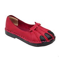 Dame-PU-Tykk hæl-Slingback Sko-Flate sko-Fritid-Svart Rød