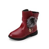 Mädchen-Stiefel-Lässig-Leder-Niedriger Absatz-Komfort-Schwarz Rot Burgund
