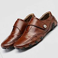 Herre-Lær-Flat hæl-Komfort Lette såler-一脚蹬鞋、懒人鞋-Friluft Fritid-Svart Brun