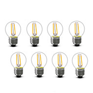 2W E14 E27 LED-glødepærer G45 2 COB 200 lm Varm hvit Dekorativ AC220 AC230 AC240 V 8 stk
