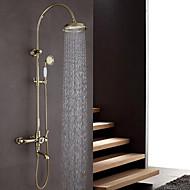 アールデコ調/レトロ風 壁式 ハンドシャワーは含まれている with  セラミックバルブ 二つのハンドル三穴 for  Ti-PVD , シャワー水栓