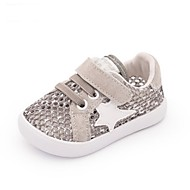 Barn Baby Flate sko Første gåsko Griseskinn Sommer Avslappet Første gåsko Flat hæl Svart Grå Rosa Flat