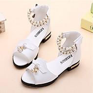Mädchen-Sandalen-Outddor Lässig Party & Festivität-PU-Niedriger Absatz-Blumen-Mädchen-Schuhe Komfort-Weiß Rosa