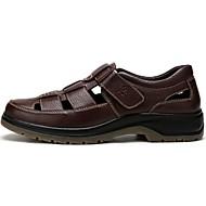 Bărbați Sandale Piele Vară Plimbare Bandă Magică Toc Plat Negru Maro Sub 2.5 cm