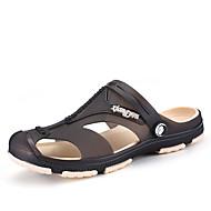 남성 슬리퍼 플립 플롭 구멍 신발 인조 합성 봄 여름 야외 블랙 다크 블루 그레이 네이비 블루 그린 플랫