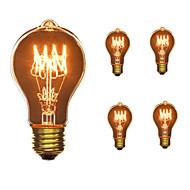5pcs a19 e27 40w glødende vintage lyspære til husholdning bar kaffebar hotel ac110-130v