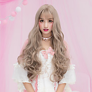 Cheap Women Synthetic Wigs Long Dark Chestnut Brown Grey Natural Wave Middle Part With Bangs Natural Lolita Wig