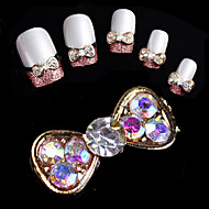 10 pcs Three Dimensional Color Drill Super Shiny Bow Nail Decorations