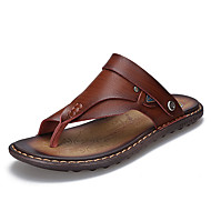 Men's Sandals Comfort PU Spring Fall Winter Casual Comfort Flat Heel Dark Brown Yellow Flat