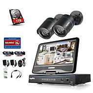 sannce® 4 csatornás 2 kamera 720p LCD DVR időjárásálló biztonsági rendszer által támogatott analóg ahd TVI ip kamera 1TB hdd