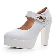 """נשים עקבים נעליים פורמלית עור אביב סתיו נעליים פורמלית עקב עבה לבן שחור ס""""מ 12.7 ומעלה"""