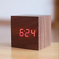 デジタル ウッド 目覚まし時計,LEDライト付き