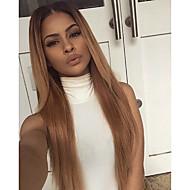 Naisten Aitohiusperuukit verkolla Aidot hiukset Lace Front Liimaton puoliverkko 130% Tiheys Suora Peruukki Black / Mansikka Blonde Lyhyt