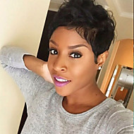 Femme Perruques capless à cheveux humains Auburn Noir Court Ondulation Naturelle Coupe Lutin Avec Frange Perruque afro-américaine